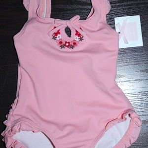 NWT Janie and Jack Pink Floral Ruffle Swimsuit 1pc